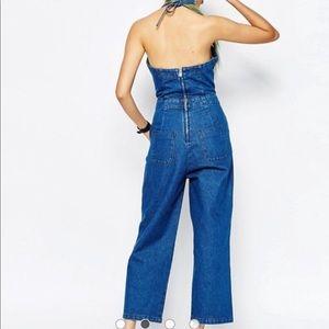 ASOS Pants - ASOS Denim Wide Leg Halter Jumpsuit